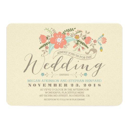 Cute Wedding Invitation: Cute Floral Wedding Invitation
