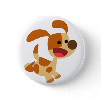 Insigne gambadant mignon de bouton de chien de ban button