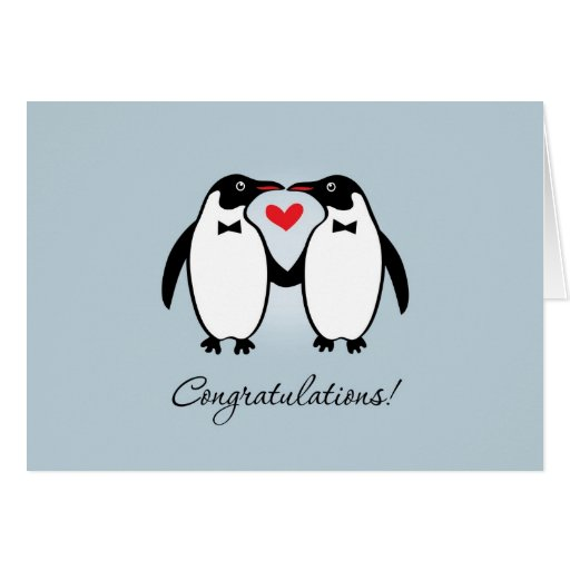 Cute Gay Penguins Wedding Congratulations Greeting Card ...