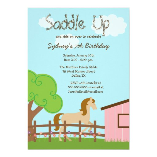 Personalized Horse Birthday Party Invitations