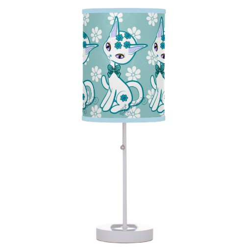 Girly Lamps For Bedroom: Cute Girly Kitty Cat Aqua Blue Table Lamp