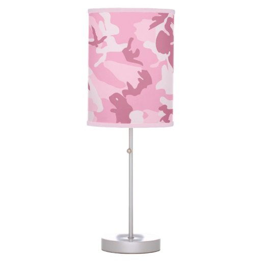 Girly Lamps For Bedroom: Cute Girly Pink Camouflage Pattern Table Lamps