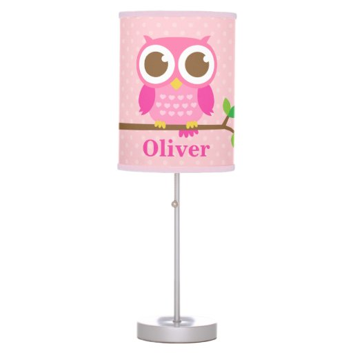 Girly Pink Nursery Decor: Cute Girly Pink Owl On Branch Girls Room Decor Table Lamp