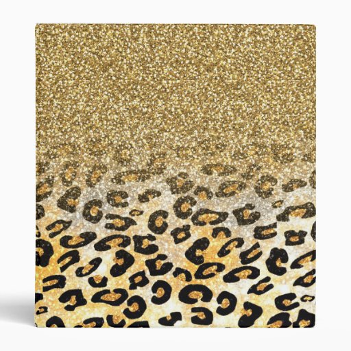 Cute Girly Trendy Yellow Gold Faux Glitter Leopard 3 Ring