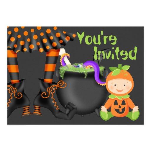 "Cute Halloween Pumpkin Baby 1st Birthday Invite 4.5"" X 6"