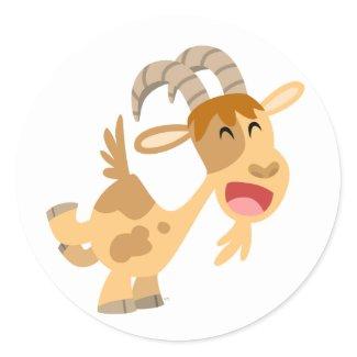 Cute Happy Cartoon Goat Sticker sticker