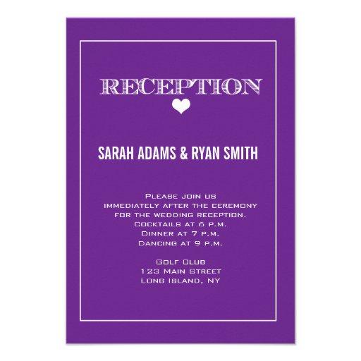 Cute Wedding Ideas For Reception: Cute Heart Purple Wedding Reception Invitation