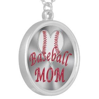 Cute Heart Shaped Baseball Mom Necklace