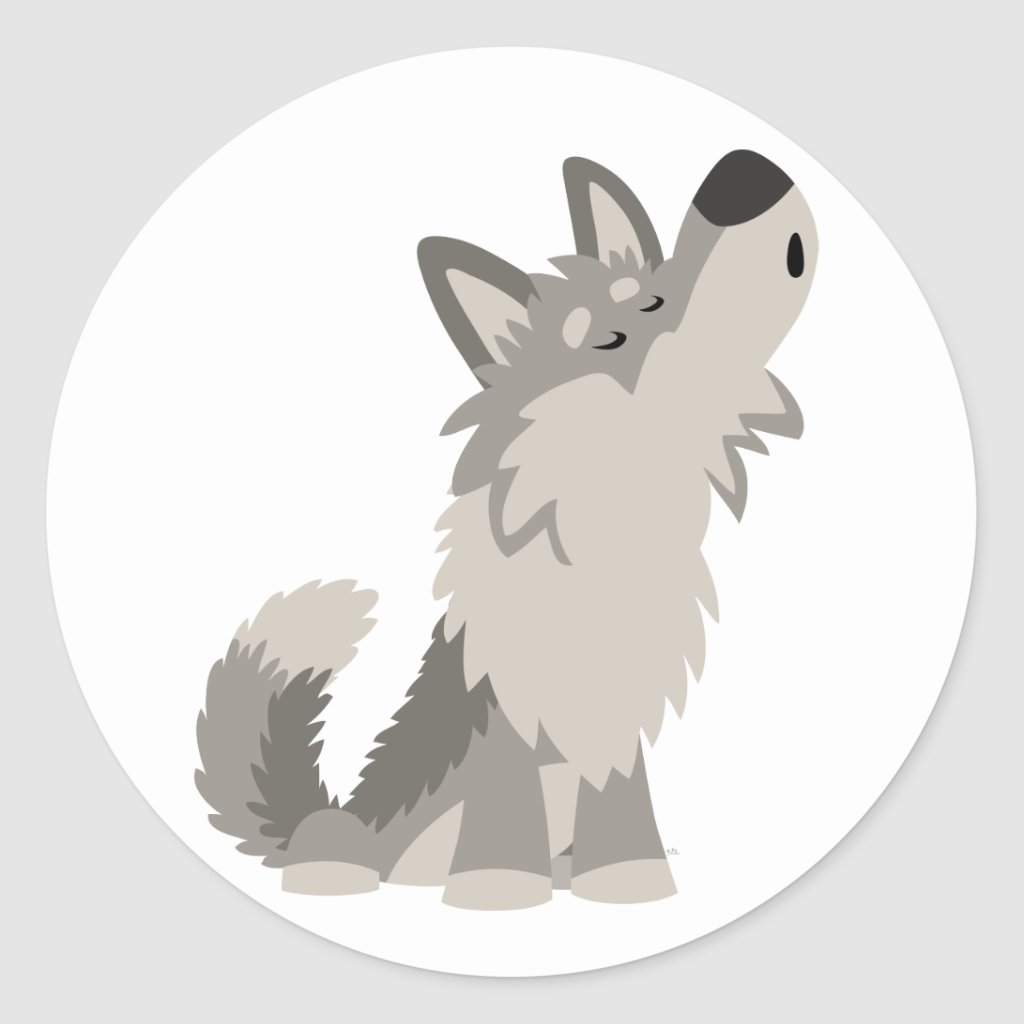 Cute wolf cartoon howling