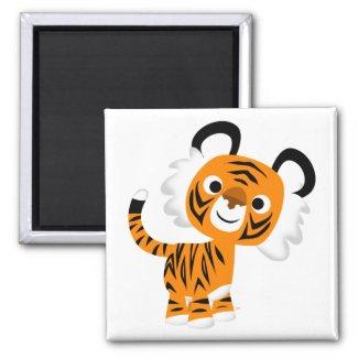 Cute Inquisitive Cartoon Tiger Magnet magnet