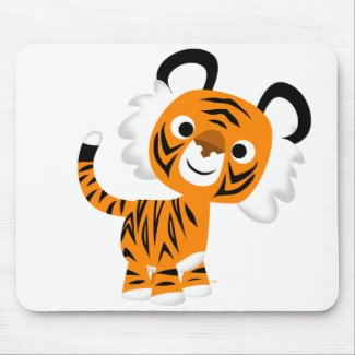 Cute Inquisitive Cartoon Tiger Mousepad mousepad