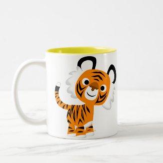 Cute Inquisitive Cartoon Tiger Mug mug
