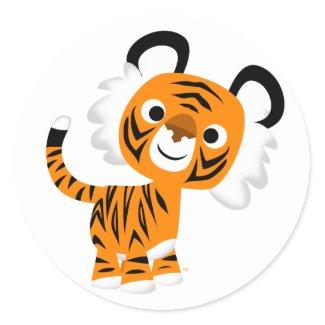 Cute Inquisitive Cartoon Tiger Sticker sticker