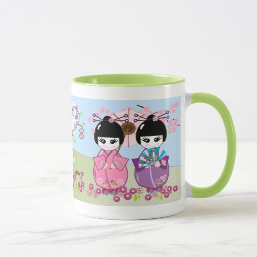 Cute Japanese Dolls Cherry Blossoms Mug With Text Zazzle