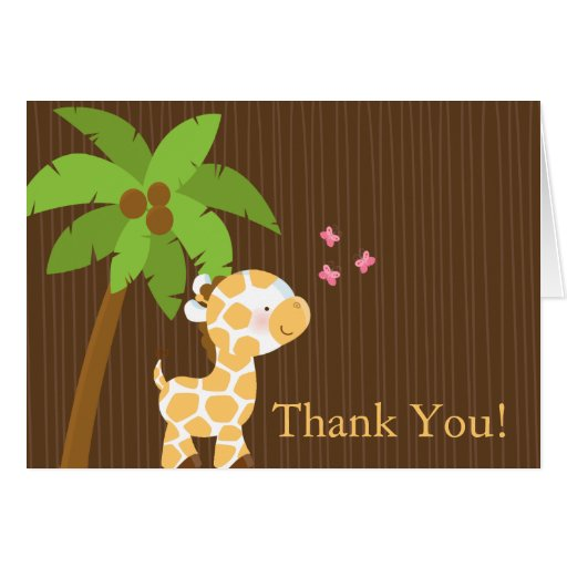 Cute Jungle Giraffe Baby Shower Thank You Card Zazzle