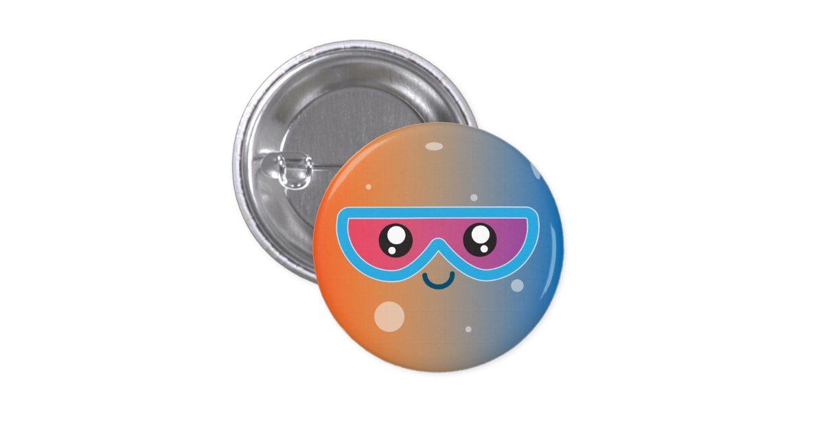 Cute Kawaii Planet Mercury Character Button | Zazzle