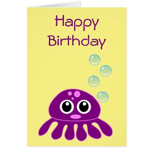 Cute Kawaii Purple Jellyfish Happy Birthday Card