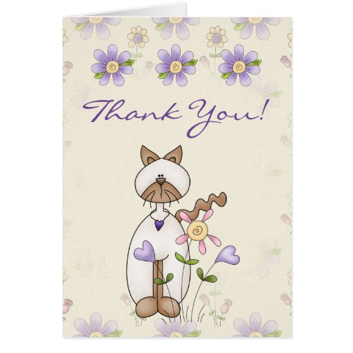 Cute Kitty Cat and Flowers Thank You Card | Zazzle