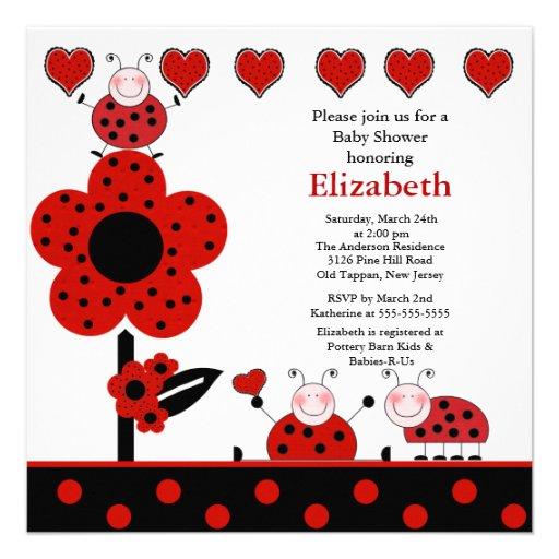 "Cute Ladybug Baby Shower Invitation 5.25"" Square"