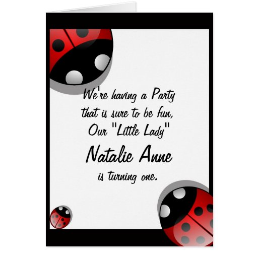 cute ladybug birthday invitation template greeting card