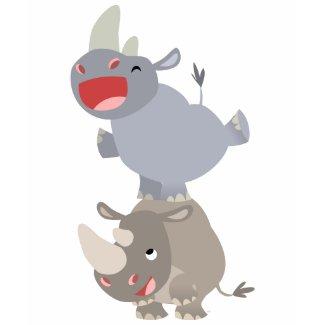 Cute Leapfrog Cartoon Rhinos Kids T-shirt shirt