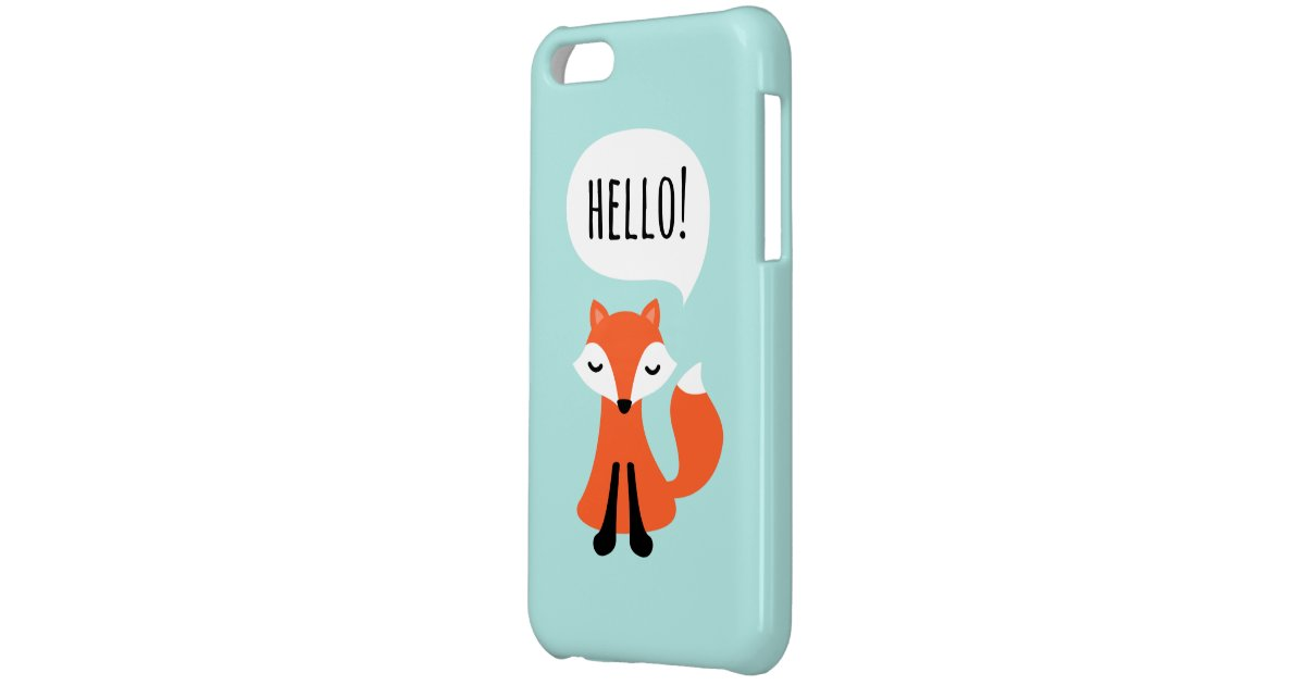 Cute Little Fox On Blue Background Saying Hello Case For