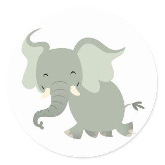 Cute Merry Cartoon Elephant Sticker sticker