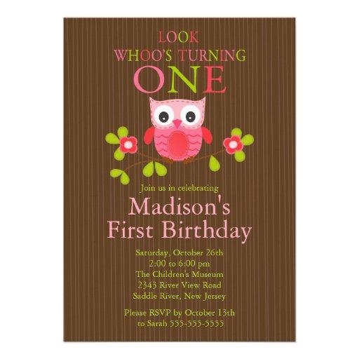 "Cute Modern Owl 1st Birthday Party Invitations 5"" X 7"
