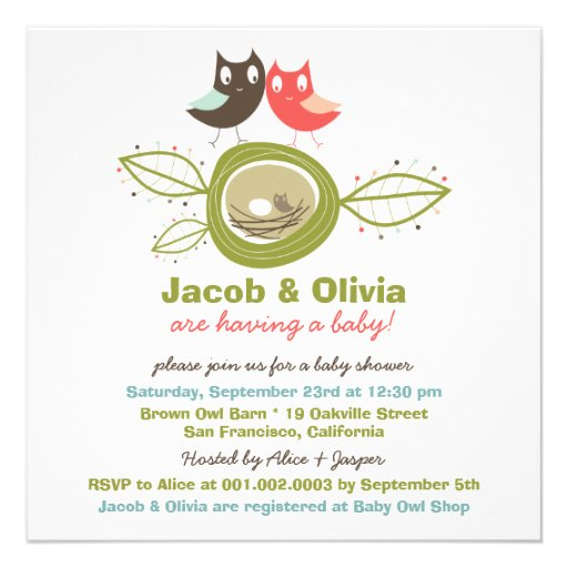 Family Baby Shower Invitations: Cute Nesting Owl Family Baby Shower Invitation 5.25