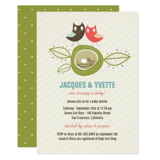 Family Baby Shower Invitations: Cute Nesting Owls Family Couple Baby Shower Invite