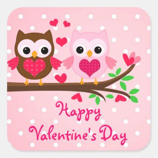 Cute Owl Couple I Love You Happy Valentine's Day Square ...