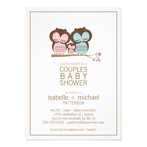 "Family Baby Shower Invitations: Cute Owl Family Couples Baby Shower Invitation 5"" X 7"