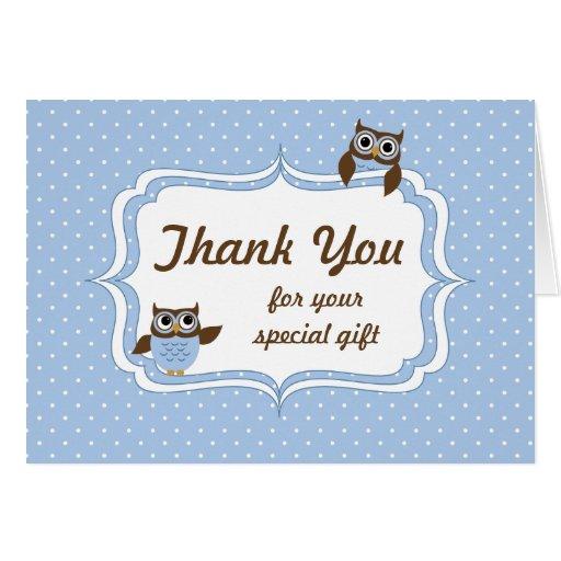 cute owls baby boy shower thank you card  zazzle