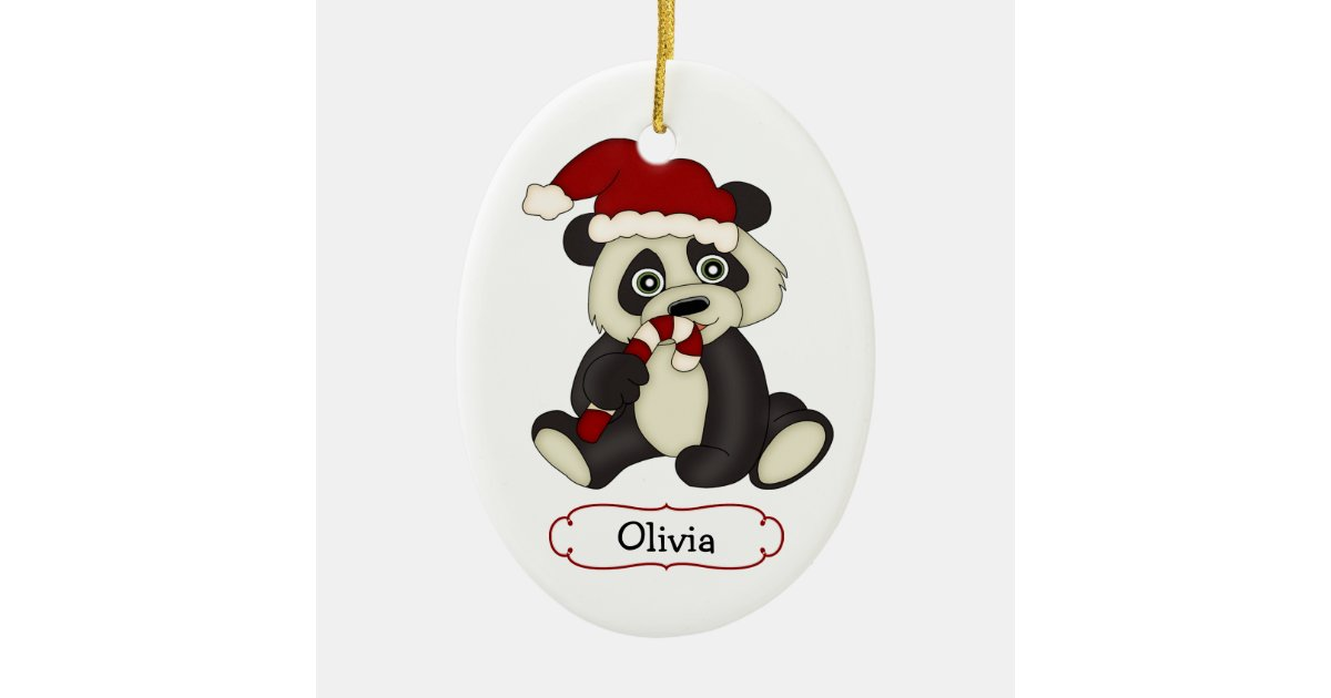 Cute Panda Bear Personalized Christmas Ceramic Ornament ...