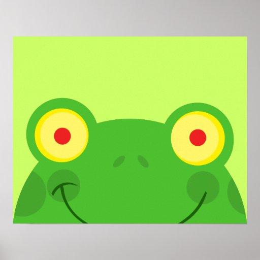 cute peeking cartoon frog froggy face poster   Zazzle