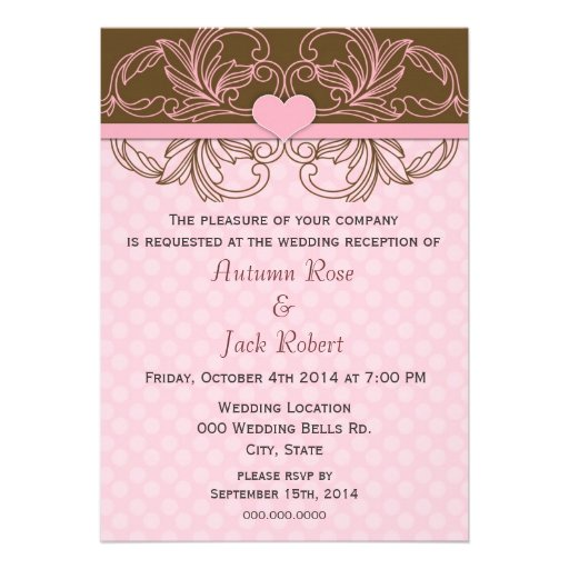 Cute Wedding Ideas For Reception: Cute Pink And Brown Wedding Reception 5x7 Paper Invitation