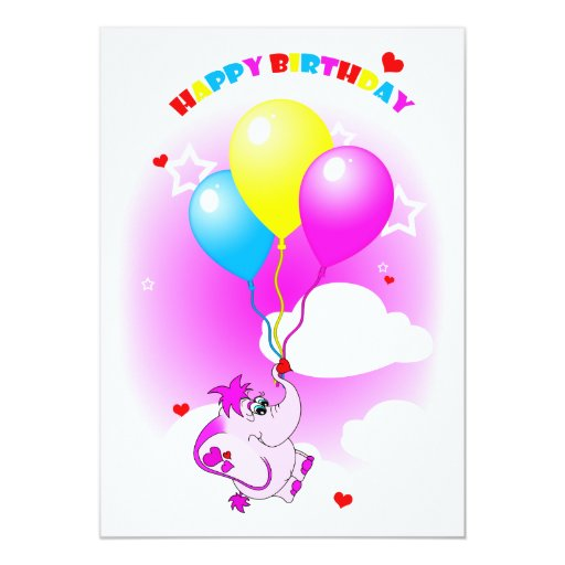 Cute Pink Elephant Happy Birthday Party Invitation