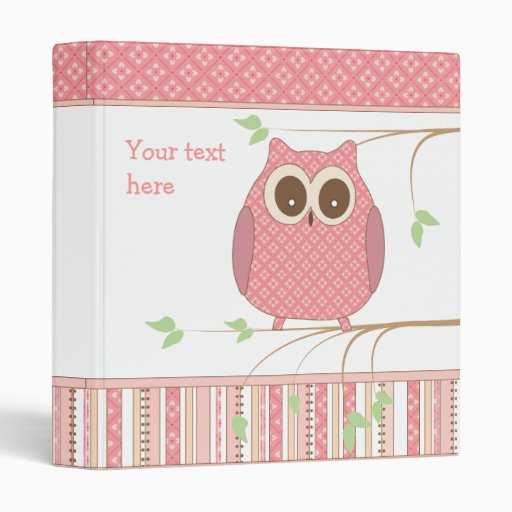 Cute Pink Owl On A Tree Branch 3 Ring Binder