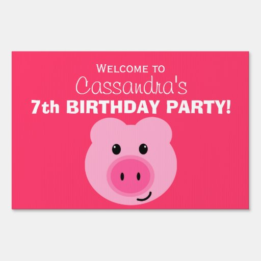 Cute Pink Pig Birthday Party Sign