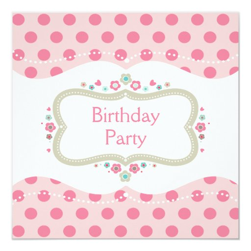 Cute Pink Polka Dots And Flowers Birthday Party Invitation