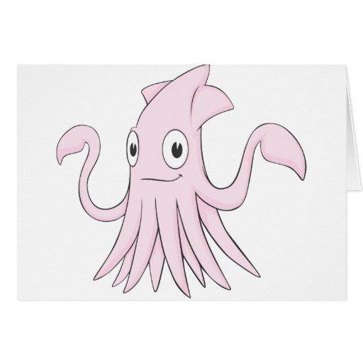 Cute Pink Squid Cartoon Shirt Cards | Zazzle