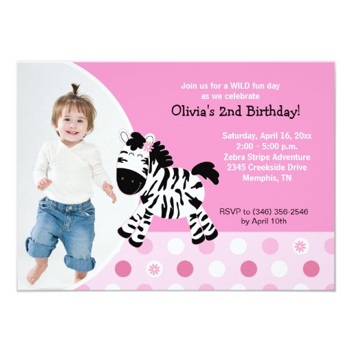 Pink Zebra Print Girls 1st Birthday Invitation: Cute Pink Zebra Girl Photo Birthday Invitation
