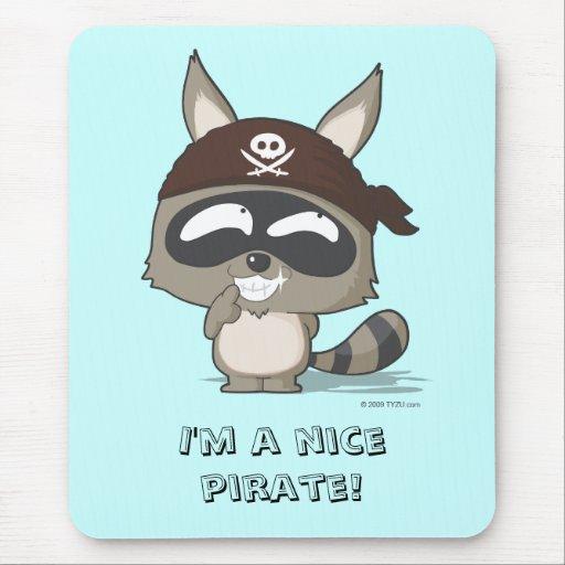 Cute pirate raccoon anime funny cartoon mousepad | Zazzle