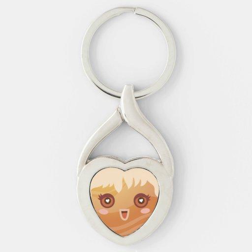 Cute Planet Venus Character Twisted Heart Keychain | Zazzle