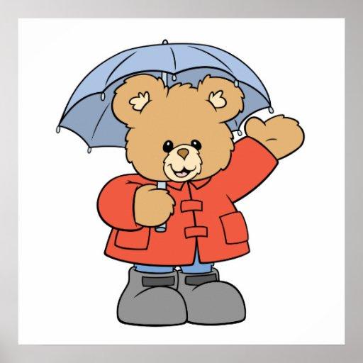 Cute Rainy Day: Cute Rainy Day Bear Poster