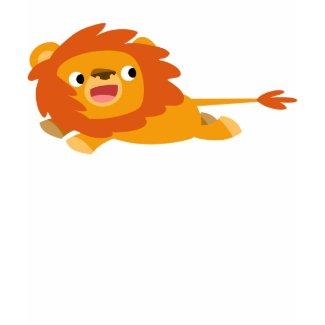 Cute Rushing Cartoon Lion Children T-Shirt shirt