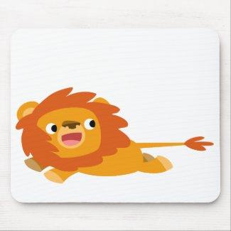 Cute Rushing Cartoon Lion Mousepad mousepad