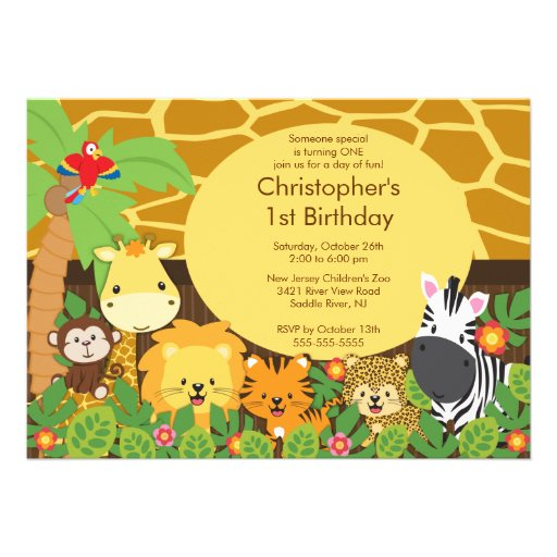 Personalized Zoo Birthday Party Invitations