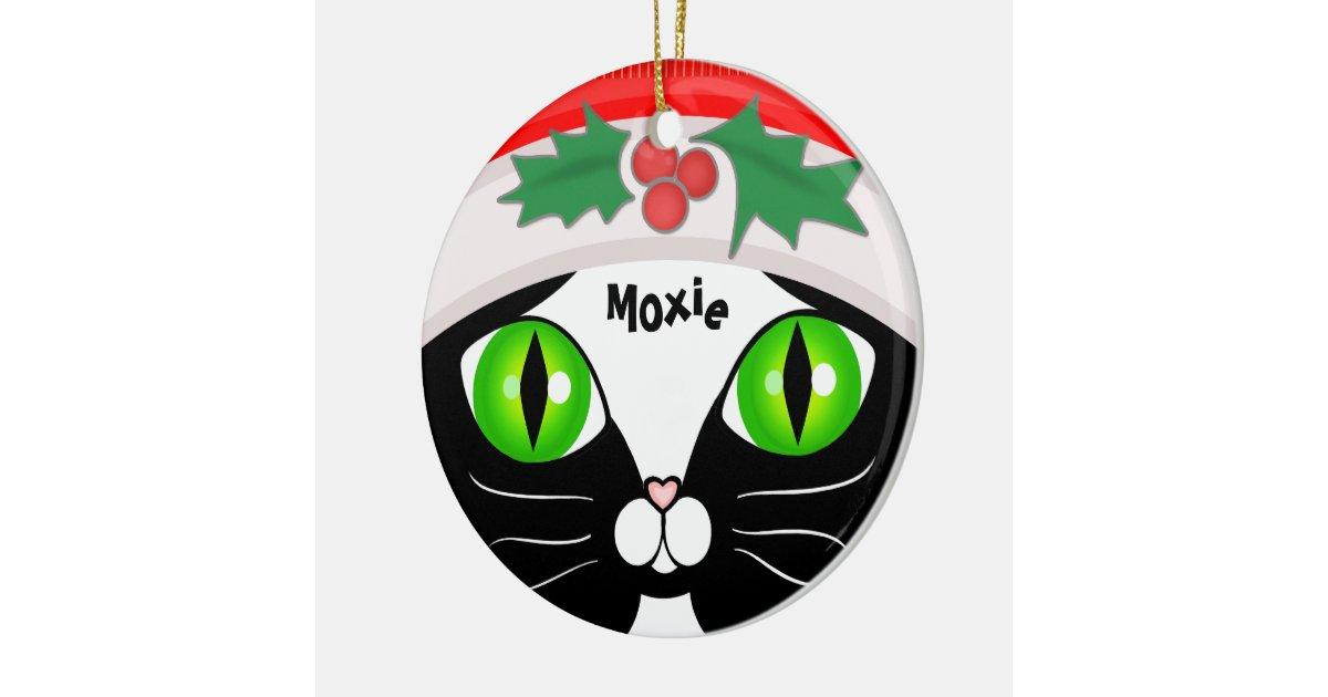 Cute Santa Tuxedo Cat Christmas Ornament | Zazzle