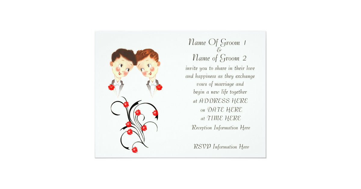 Gay Marriage Wedding Invitations: Cute Two Grooms Gay Wedding Invitation